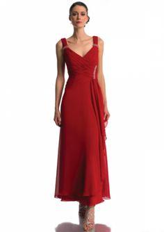 f7ed66f769f99 US$140.99 2015 V-neck Ruched Straps Zipper Sleeveless V-back Red Ankle  Length Mother of the Bride Dresses MBD0075 online shops