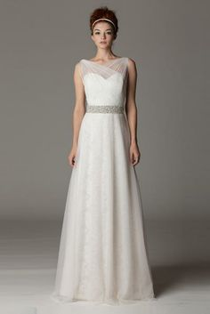 Look like a Greek goddess in this gorgeous a-line gown with sheer details | Aria