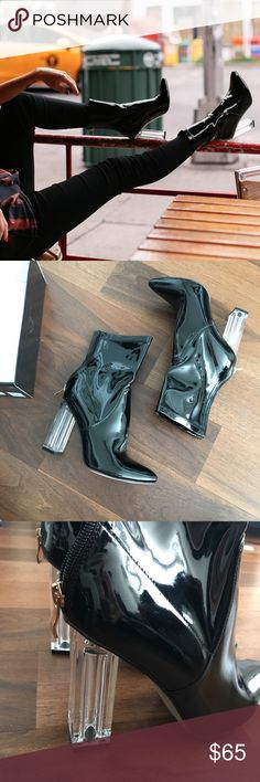 SOLEWISH black patent booties with clear heel Sz 7 SOLEWISH black patent booties with clear heel - sz UK 5 US 7 - worn for 10 minutes for a photo. Solewish Shoes Heeled Boots