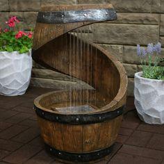 Wine Barrel Water Feature, Wine Barrel Garden, Barrel Garden Ideas, Whiskey Barrel Fountain, Wine Barrel Bar Table, Outdoor Waterfall Fountain, Whiskey Barrel Furniture, Barrel Projects, Wood Projects