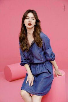 New Pic from Esprit 💖💙 . Korean Actresses, Korean Actors, Celebrity Outfits, Celebrity Style, Celebrity Women, Song Hye Kyo Style, Korean Celebrities, Celebs, Korean Photoshoot