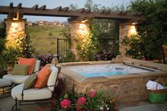 Stupendous Backyard Landscaping Ideas With Jacuzzi, Jacuzzi is a huge focus for yard landscaping. Jacuzzi is a big bath or a little pool that's equipped electrically to sprout jets of water and air bubb.
