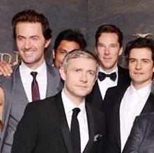 Cannot state the awesomeness of this pic!! Richard Armitage, Benedict Cumberbatch, Martin Freeman, Orlando Bloom.  Love RA and BC the most!