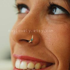 Kleine Türkis gold Ring 24 GAUGE Silber Nase Nasenring 14k