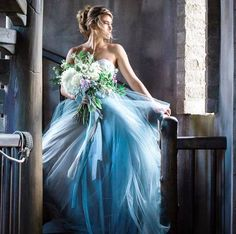 Tulle Wedding Dress Ballgown, Blue Grey French Knot Couture