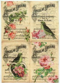 Rice Paper for Decoupage Decopatch Scrapbook Craft Sheet Vintage Birds & Roses