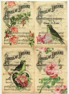 Rice Paper for Decoupage Decopatch Scrapbook Craft Sheet Vintage Birds & Roses