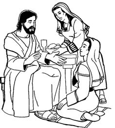 Mary & Martha with Jesus Bible Study Crafts, Bible Art, Christian Preschool, Mary And Martha, Religion Catolica, Bible Illustrations, Bible Coloring Pages, Bible Pictures, Mary And Jesus