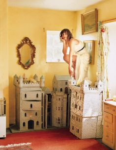 Model, artist, and former trapeze performer Iris Palmer at Mill Hill Farm, Gloucestershire, England. Photograph by Tim Walker, January 2008.