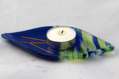 Bright blue and yellow, fused glass trinket dish, tea bag rest, soap dish, spoon rest, candle dish, hostess gift, house warming. - pinned by pin4etsy.com