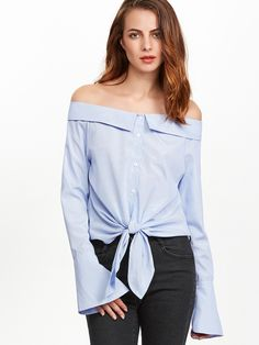 Shop Blue Striped Knot Front Bell Cuff Off The Shoulder Blouse online. SheIn offers Blue Striped Knot Front Bell Cuff Off The Shoulder Blouse & more to fit your fashionable needs.