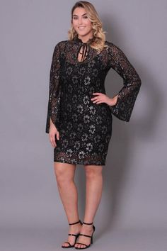 Plus Size Athena Metallic Lace Dress - Black Silver