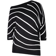 City Chic Cool Stripe Sweater ($79) ❤ liked on Polyvore featuring tops, sweaters, off one shoulder tops, striped sweater, short jumper, stripe sweater and batwing sleeve tops