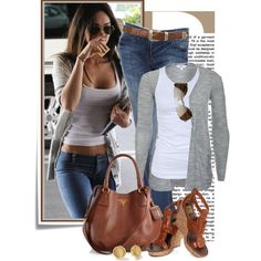 Untitled #1692- white tank top, gray cardigan and brown wedge sandals