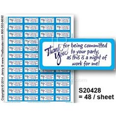 S20428 -p- Thanks Committed PARTY DBMR -48 STICKERS