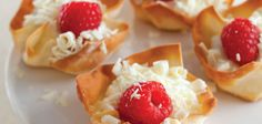 Sandra Lee Raspberry-White Chocolate Wonton Cups- Raspberry-White Chocolate Wonton Cups