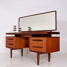 1950s danish modern vintage teak entry wall mirror shelf w drawer mid century entryway house. Black Bedroom Furniture Sets. Home Design Ideas
