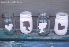 LOVE, LOVE, LOVE these!  I have got to remember to make them. Silhouette Mason Jars - DIY Tutorial