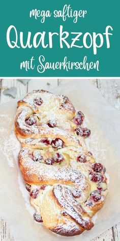 Mega juicy curd cheese with sour cherries. A special yeast braid. Thermomix Re… - apple pie - Mega juicy curd cheese with sour cherries. A special yeast braid. Thermomix Re - Easy Cheesecake Recipes, Easy Cookie Recipes, Dessert Recipes, Quark Recipes, Cheesecake Cookies, Cream Recipes, Easy Recipes, Food Cakes, Rice Cakes