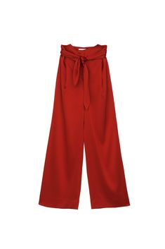 These tailored pants are cut from lustrous satin and have a floor-skimming wide-leg silhouette that's incredibly flattering. Complement the high-rise yoke like waistline with a tucked-in tee. Wide Leg, Satin, Floor, Silhouette, Tees, Model, How To Wear, Pants, Fashion