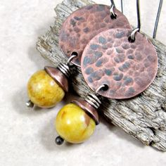 Earrings Copper Coin and Mustard Agate by adorned7 on Etsy, $26.00