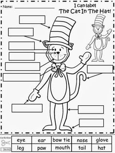 Free: The Cat In The Hat Labeling Activity.  Cut and glue the labeling words.  For Educational Purposes Only.  Freebie For A Teacher From A Teacher! Enjoy! fairytalesandfictionby2.blogspot.com