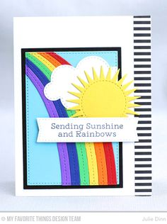 Sending Sunshine Card by Julie Dinn featuring the Rainbow Greetings stamp set, and the End of the Rainbow, Radiant Sun, Stitched Rectangle STAX, Rectangle STAX Set 2, and Blueprints 20 Die-namics #mftstamps