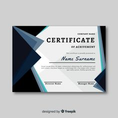 Certificate of achievement Free Certificate Layout, Graduation Certificate Template, Birthday Certificate, Certificate Design Template, Certificate Of Achievement, Award Certificates, Award Template, Powerpoint Design Templates, Name Design