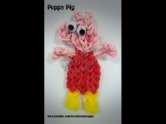 Rainbow Loom PEPPA PIG (single loom). Designed and loomed by Kate Schultz of Izzalicious Designs. Click photo for Youtube tutorial. 03/25/14