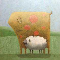 "Myron and Binky by Alexis St. John | $250 | 16""w 16""h | Original Art | http://www.arttwo50.com/buy/art/myron-and-binky"