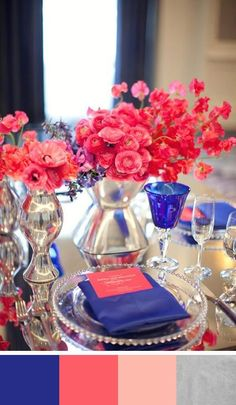 coral and blue wedding palette