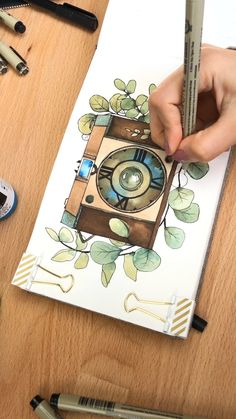 Camera Illustration, Vintage Illustration Art, Illustration Art Drawing, Art Drawings Sketches, Drawing Art, Watercolor Art Diy, Watercolor Art Lessons, Watercolor Painting Techniques, Artist Painting