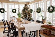 LOVE  THE WREATHS IN THE WINDOWS These deck-the-halls house tours are sure to spark holiday cheer.