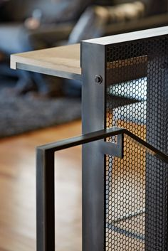 Handrails / reading shelves -- this would be fairly easy to recreate in model. (sub the pierced metal for frosted glass?