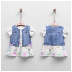 Baby Girl Digital Printed Denim Dress with Sweety Elephants & Colorful Patterns Printed Denim, Comfortable Outfits, Overall Shorts, Elephants, Color Patterns, Organic Cotton, Overalls, Girl Outfits, Colorful