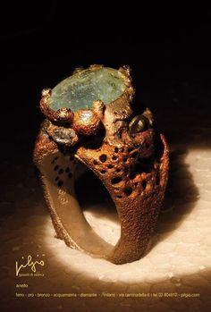 Pilgiò anello: acquamarina - ferro - oro - bronzo - diamante