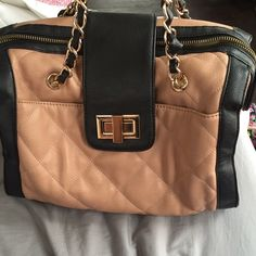 ALDO purse ALDO mauve/black chain handled purse • Used- minor staining on the interior that could possibly come off with a good cleaning, but good condition over all! ALDO Bags
