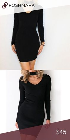 Long Sleeve Choker Dress V neck. Knee Length. Available in Grey and Black. ✨READY TO SHIP✨ Dresses