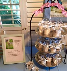 Baby shower party favors for nursery rhyme theme. 'Jack and Jill' pail of kisses! Mini pails came 3/$1.00 at the Dollar Tree, filled with Hershey's kisses.