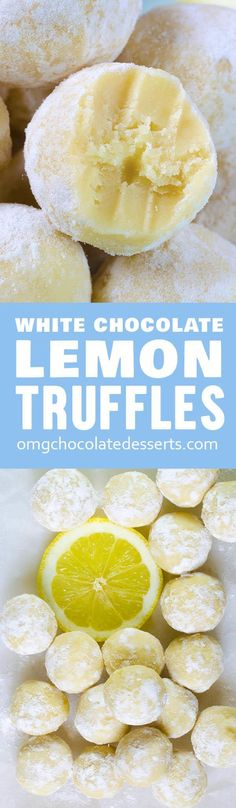 White Chocolate Lemon Truffles – OMG Chocolate Desserts These easy Lemon Truffles with white chocolate will melt-in-your-mouth! Three ingredients, no baking required, and you'll have recipe for perfection. (No Bake Chocolate Desserts) Lemon Desserts, Lemon Recipes, Delicious Desserts, Dessert Recipes, Yummy Food, Healthy Food, White Desserts, Baking Desserts, Healthy Desserts