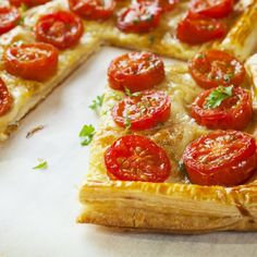 Christmas starters: Recipes and ideas to get your Christmas lunch off to a flying start. Three Ingredient Recipes, 3 Ingredient Dinners, Tart Recipes, Cooking Recipes, Parmesan, Christmas Starters, Tomato Tart Recipe, Summer Pie, Cheese Tarts