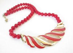 Red and Gold Statement Necklace, Vintage 80s Retro Red and Gold Necklace