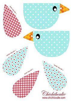FREE printable bird template ^^ / Chichiboulie - Fun Little Things xxx Bird Patterns, Applique Patterns, Applique Quilts, Applique Designs, Quilt Patterns, Bird Crafts, Easter Crafts, Bird Template, Paper Birds