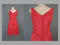 1960s Dress Red Floral Satin Brocade Shift by dandelionvintage