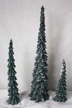 Dept 56 Village Cold Cast Porcelain Pencil Pines Set of 3 Original Box