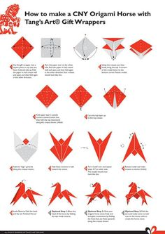 Use Origami Horse wrapping paper The Effective Pictures We Offer You About DIY Origami oiseau A Origami Design, Diy Origami, Origami Horse, Origami Dragon, Origami Fish, Origami Folding, Paper Crafts Origami, Origami Animals, Origami Stars