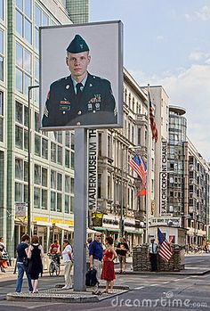 Checkpoint Charlie was the most well known Berlin Wall crossing point between East Germany and West Germany during the Cold War. It has become one of Berlin's primary tourist attractions. The photo depicts an American soldier (West Berlin). West Berlin, Berlin Wall, East Germany, Berlin Germany, Checkpoint Charlie, American Soldiers, Learn German, Germany Travel, Places To Travel