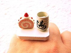 Kawaii Cake Ring Green  Tea Strawberry Roll by SouZouCreations, $12.50