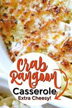 40 minutes · Serves 12 · This easy, crab rangoon casserole is incredibly cheesy and packed with crab and all the flavors that crab rangoon fans love! Best Seafood Recipes, Fish Recipes, New Recipes, Cooking Recipes, Favorite Recipes, Canned Crab Recipes, Holiday Recipes, Best Dinner Recipes Ever, Cleaning Recipes