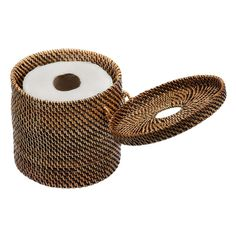 Hide your toilet paper roll while keeping it within reach when needed with this delicately hand woven toilet paper roll cover. And note that it doubles as a tissue dispenser. Have a look at the pictures to learn about the smart little trick on how to do so.
